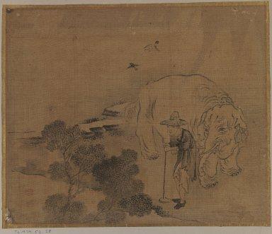 <em>Farmer and Elephant, Album Leaf Painting</em>, 18th century. Ink on silk, Image: 10 5/8 x 12 3/4 in. (27 x 32.4 cm). Brooklyn Museum, Gift of Dr. Jack Hentel, 81.204.24 (Photo: Brooklyn Museum, 81.204.24_IMLS_PS3.jpg)