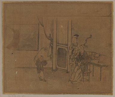 <em>Elderly Couple and Little Boy</em>, 18th century. Ink on silk, Image: 10 5/8 x 12 3/4 in. (27 x 32.4 cm). Brooklyn Museum, Gift of Dr. Jack Hentel, 81.204.25 (Photo: Brooklyn Museum, 81.204.25_IMLS_PS3.jpg)