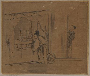 <em>Man Worshipping at Ancestral Shrine</em>, 18th century. Ink on silk, Image: 10 5/8 x 12 3/4 in. (27 x 32.4 cm). Brooklyn Museum, Gift of Dr. Jack Hentel, 81.204.26 (Photo: Brooklyn Museum, 81.204.26_IMLS_PS3.jpg)