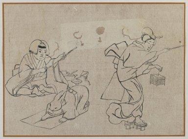 <em>Three Figures</em>, late 19th century. Brush sketch, ink on paper, Image: 9 1/4 x 12 5/8 in. (23.5 x 32.1 cm). Brooklyn Museum, Gift of Dr. Jack Hentel, 81.204.9 (Photo: Brooklyn Museum, 81.204.9_IMLS_PS3.jpg)