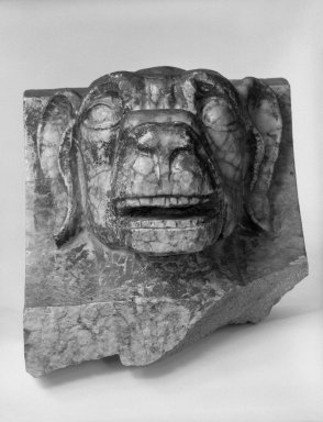 Unknown (American). <em>Head of a Dog, from Turner Towers, 135 Eastern Parkway, Brooklyn</em>, 1928. Cast Stone: cement composition and vitreous enamel, Other: 8 x 7 1/2 x 8 in. (20.3 x 19.1 x 20.3 cm). Brooklyn Museum, Gift of Charles Free, 81.209.7. Creative Commons-BY (Photo: Brooklyn Museum, 81.209.7_bw.jpg)