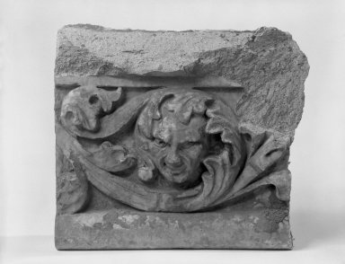 Unknown (American). <em>Foliate Border with Head, from Turner Towers, 135 Eastern Parkway, Brooklyn</em>, 1928. Cast Stone: cement composition and vitreous enamel, Other: 6 x 8 x 4 in. (15.2 x 20.3 x 10.2 cm). Brooklyn Museum, Gift of Charles Free, 81.209.8. Creative Commons-BY (Photo: Brooklyn Museum, 81.209.8_bw.jpg)
