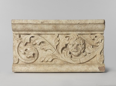 Unknown (American). <em>Foliate Border with Head, from Turner Towers, 135 Eastern Parkway, Brooklyn</em>, 1928. Cast Stone: cement composition and vitreous enamel, Other: 7 3/4 x 13 1/2 x 5 in. (19.7 x 34.3 x 12.7 cm). Brooklyn Museum, Gift of Charles Free, 81.209.9. Creative Commons-BY (Photo: , 81.209.9_PS9.jpg)