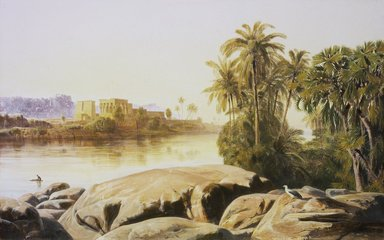 Edward Lear (British, 1812-1888). <em>Philae on the Nile</em>, 1855. Oil on canvas, 13 3/4 x 21 3/8 in. (34.9 x 54.3 cm). Brooklyn Museum, Gift of David Nash, 81.210 (Photo: Brooklyn Museum, 81.210.jpg)