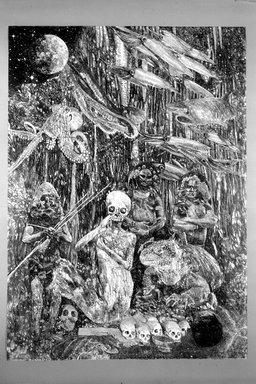 Ann McCoy (American, born 1946). <em>The Underworld</em>, 1980. Lithograph (diptych) on paper, sheet (each): 41 7/8 x 29 7/8 in. (106.4 x 75.9 cm). Brooklyn Museum, Gift of Dr. Richard Bassin, 81.218.4a-b. © artist or artist's estate (Photo: Brooklyn Museum, 81.218.4a_bw.jpg)