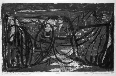 Adja Yunkers (American, born Latvia, 1900-1983). <em>Ostia Antica I</em>, 1955. Woodcut Brooklyn Museum, Gift of Barry H. Garfinkel, 81.226.1. © artist or artist's estate (Photo: Brooklyn Museum, 81.226.1_bw.jpg)