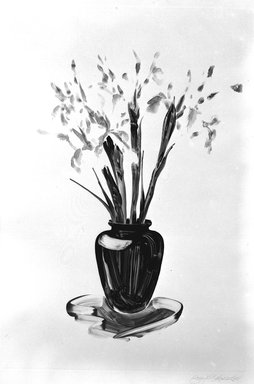 "Gary Alan Bukovnik (American, born 1947). <em>Large Iris, from ""Untitled Still Life Series,""</em> 1981. Monotype, Image: 36 5/8 x 24 13/16 in. (93 x 63 cm). Brooklyn Museum, Gift of Henry H. Hawley, 81.229.25. © artist or artist's estate (Photo: Brooklyn Museum, 81.229.25_bw.jpg)"