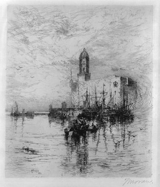 Thomas Moran (American, 1837-1926). <em>The Castle of San Juan De Ulva, Vera Crus</em>, 1884. Etching on paper, Sheet: 19 3/8 x 14 in. (49.2 x 35.6 cm). Brooklyn Museum, Gift of Mr. and Mrs. Martin Lerner, 81.238 (Photo: Brooklyn Museum, 81.238_bw.jpg)