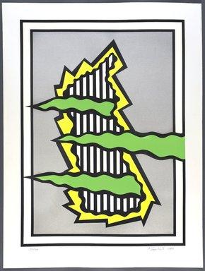 Nicholas Krushenick (American, 1929-1999). <em>Blue Hill</em>, 1980. Screenprint, Sheet: 40 3/4 x 30 3/16 in. (103.5 x 76.7 cm). Brooklyn Museum, Gift of Irwin Shubert, 81.243.13. © artist or artist's estate (Photo: Brooklyn Museum, 81.243.13_PS9.jpg)