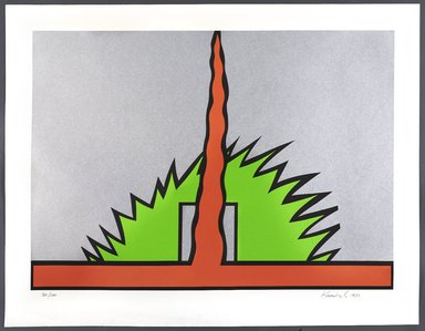 Nicholas Krushenick (American, 1929-1999). <em>Mount Cadillac</em>, 1980. Screenprint, Sheet: 40 3/4 x 30 3/16 in. (103.5 x 76.7 cm). Brooklyn Museum, Gift of Irwin Shubert, 81.243.14. © artist or artist's estate (Photo: Brooklyn Museum, 81.243.14_PS9.jpg)
