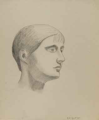 George Copeland Ault (American, 1891-1948). <em>Girl's Head</em>, 1927. Graphite on paper, sheet: 15 5/8 x 13 5/16 in. (39.7 x 33.8 cm). Brooklyn Museum, Gift of Maurice Vanderwoude in memory of Louise Ault, 81.250.1 (Photo: Brooklyn Museum, 81.250.1_PS3.jpg)