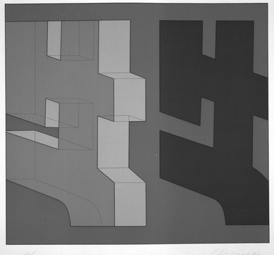 Chryssa (American, born Greece, 1933-2014). <em>[Untitled]</em>, 1980. Silkscreen, Sheet: 31 5/8 x 33 7/8 in. (80.3 x 86 cm). Brooklyn Museum, Gift of Dr. Richard Bassin, 81.257.9f. © artist or artist's estate (Photo: Brooklyn Museum, 81.257.9f_bw.jpg)