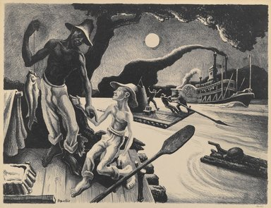 Thomas Hart Benton (American, 1889-1975). <em>Huck Finn</em>, 1936. Lithograph, Sheet: 20 1/8 x 24 in. (51.1 x 61 cm). Brooklyn Museum, Gift of Dr. and Mrs. Theodore Kamholtz, 81.261.1 (Photo: Brooklyn Museum, 81.261.1_PS6.jpg)