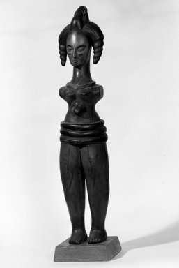 Ibibio (Anang). <em>Female Doll</em>, early 20th century. Wood, pigment, 24 x 5 1/4 x 5 in. (61.0 x 13.3 x 12.8 cm). Brooklyn Museum, Gift of Bryce Holcombe, 81.270. Creative Commons-BY (Photo: Brooklyn Museum, 81.270_bw.jpg)
