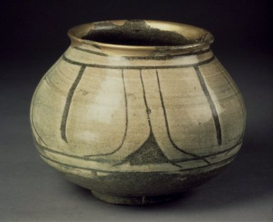 <em>Jar</em>, last half of 15th-16th century. Buncheong ware, stoneware with underglaze white slip decoration, Height: 5 in. (12.7 cm). Brooklyn Museum, Gift of Robert S. Anderson, 81.274.3. Creative Commons-BY (Photo: Brooklyn Museum, 81.274.3.jpg)