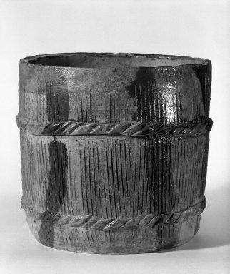 Kitaoji Rosanjin (Japanese, 1883-1959). <em>Kitaoji Rosanjin, Mizushashi (Tea Ceremony Fresh-Water Jar)</em>, ca. 1950. stoneware, 7 1/4 x 8 in. (18.4 x 20.3 cm). Brooklyn Museum, Gift of Dr. and Mrs. Frederick Baekeland, 81.275. Creative Commons-BY (Photo: Brooklyn Museum, 81.275_bw.jpg)