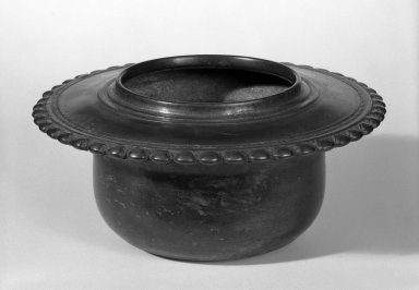 <em>Holy Water Bowl</em>, 12th-13th century. Bronze, 3 1/2 x 8 in. (8.9 x 20.3 cm). Brooklyn Museum, Gift of Dr. Joel Canter, 81.278.2. Creative Commons-BY (Photo: Brooklyn Museum, 81.278.2_bw.jpg)
