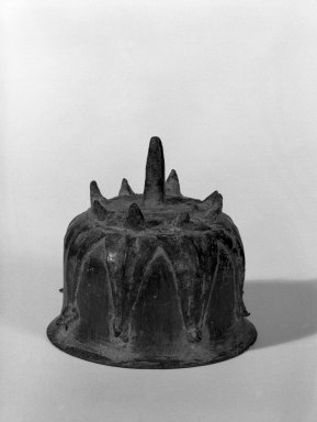 <em>Bell</em>, 13th-14th century. Bronze, 2 3/4 x 2 3/4 in. (7 x 7 cm). Brooklyn Museum, Gift of Dr. Joel Canter, 81.278.6. Creative Commons-BY (Photo: Brooklyn Museum, 81.278.6_bw.jpg)