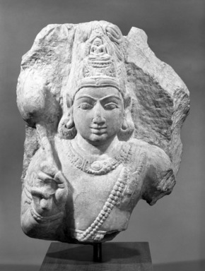 <em>Avalokiteshvara Padmapani</em>, 3rd-6th century. Limestone, 7 1/2 x 12 1/4 in. (19.1 x 31.1 cm). Brooklyn Museum, Gift of Georgia and Michael de Havenon, 81.280. Creative Commons-BY (Photo: Brooklyn Museum, 81.280_front_bw.jpg)