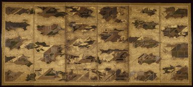 <em>Scenes from the Tale of Genji</em>, first half of 17th century. Six-panel screen, ink and color on paper, Overall: 66 3/8 x 150 in. (168.6 x 381 cm). Brooklyn Museum, Gift of Dr. John Fleming, 81.283. Creative Commons-BY (Photo: Brooklyn Museum, 81.283_SL3.jpg)