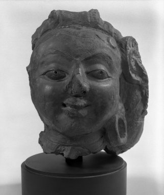 <em>Head of a Female Deity</em>, 5th century. Terracotta, 8 1/2 x 6 in. (21.6 x 15.2 cm). Brooklyn Museum, Anonymous gift, 81.288. Creative Commons-BY (Photo: Brooklyn Museum, 81.288_bw.jpg)