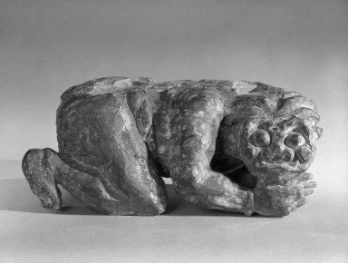 <em>Demon from Beneath One of the Four Guardian Kings</em>, 14th century. Wood sculpture, 8 x 10 x 18 in. (20.3 x 25.4 x 45.7 cm). Brooklyn Museum, Gift of Dr. John P. Lyden, 81.296.1. Creative Commons-BY (Photo: Brooklyn Museum, 81.296.1_bw.jpg)