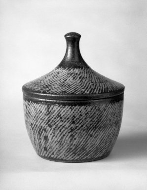 "Shimaoka Tatsuzo (Japanese, 1919-2007). <em>Shimaoka Tatsuzo, Futamono</em>, ca. 1960. stoneware, H: 5 1/4"" with cover; 2 3/4"" bowl only. Brooklyn Museum, Gift of Dr. John P. Lyden, 81.296.5. Creative Commons-BY (Photo: Brooklyn Museum, 81.296.5_bw.jpg)"