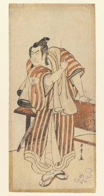 Katsukawa Shunsho (Japanese, 1726-1793). <em>Onoe Matsusuke</em>, ca. 1780. Color woodblock print on paper, 12 1/2 x 5 3/4 in. (31.8 x 14.6 cm). Brooklyn Museum, Gift of Mr. and Mrs. Peter P. Pessutti, 81.297.12 (Photo: Brooklyn Museum, 81.297.12_IMLS_PS3.jpg)