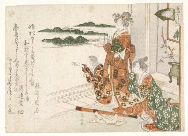 Ryuryuko Shinsai (Japanese, 1764-1820). <em>Beauties Looking at the Sea in Early Spring, from Contest of the Immortals of Poetry (Kasen awase)</em>, ca. 1809. Woodblock print, 5 1/4 x 7 3/8 in. (13.5 x 18.8 cm). Brooklyn Museum, Gift of Mr. and Mrs. Peter P. Pessutti, 81.297.4 (Photo: Brooklyn Museum, 81.297.4_print_IMLS_SL2.jpg)