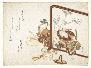 Ryuryuko Shinsai (Japanese, 1764-1820). <em>Mitate Watonai</em>, 1806. Woodblock print, 5 1/2 x 7 5/16 in. (14.0 x 18.6 cm). Brooklyn Museum, Gift of Mr. and Mrs. Peter P. Pessutti, 81.297.5 (Photo: Brooklyn Museum, 81.297.5_print_IMLS_SL2.jpg)
