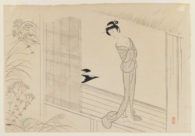 <em>Osen after the Bath, from The Story of Osen</em>, 1943. Woodblock print on paper., 10 7/8 x 15 1/2 in. (27.6 x 39.4 cm). Brooklyn Museum, Gift of Mr. and Mrs. Peter P. Pessutti, 81.297.6 (Photo: Brooklyn Museum, 81.297.6_IMLS_PS3.jpg)
