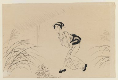 <em>Osen Running in the Pampas Grass</em>, ca. 1941. Woodblock print on paper, 10 3/8 x 15 3/8 in. (26.4 x 39.1 cm). Brooklyn Museum, Gift of Mr. and Mrs. Peter P. Pessutti, 81.297.7 (Photo: Brooklyn Museum, 81.297.7_IMLS_PS3.jpg)