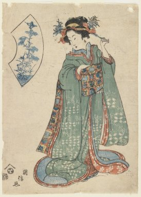 <em>Standing Beauty</em>, ca. 1815-1820. Color woodblock print on paper, 9 1/2 x 6 3/4 in. (24.1 x 17.1 cm). Brooklyn Museum, Gift of Mr. and Mrs. Peter P. Pessutti, 81.297.8 (Photo: Brooklyn Museum, 81.297.8_IMLS_PS3.jpg)