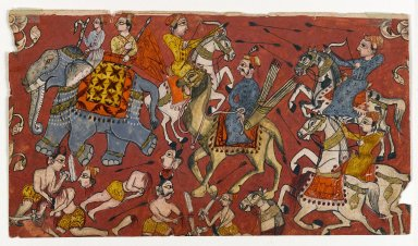 Indian. <em>Battle Scene from a Bhagavata Purana Series</em>, ca. 1625-1650. Opaque watercolor and gold on thin paper, sheet: 4 3/4 x 8 3/4 in.  (12.1 x 22.2 cm). Brooklyn Museum, Gift of Dr. and Mrs. Kenneth X. Robbins, 81.298 (Photo: Brooklyn Museum, 81.298_recto_IMLS_PS4.jpg)