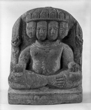 <em>Six-Headed Karttikeya</em>, 17th century (possibly). Stone, 11 7/8 x 9 1/4 in. (30.2 x 23.5 cm). Brooklyn Museum, Gift of William Wolff, 81.303.2. Creative Commons-BY (Photo: Brooklyn Museum, 81.303.2_bw.jpg)