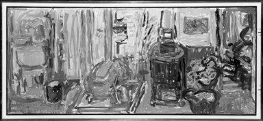 Nell Blaine (American, 1922-1996). <em>Pine Tree Studio</em>, 1958. Oil on canvas, 22 x 50 1/8 in.  (55.9 x 127.3 cm). Brooklyn Museum, Gift of Arthur Cohen, 81.305. © artist or artist's estate (Photo: Brooklyn Museum, 81.305_bw.jpg)