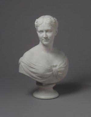 William Henry Rinehart (American, 1825-1874). <em>Bust of Martha Jane Hall</em>, 1874. Marble, 26 x 19 x 12 in. (66 x 48.3 x 30.5 cm). Brooklyn Museum, Gift of  James Ricau, 81.308. Creative Commons-BY (Photo: Brooklyn Museum, 81.308.jpg)