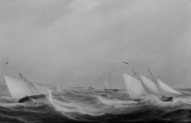 William Clark (Scottish, 1803-1883). <em>Yachts Racing off the Coast</em>, 1837. Oil on canvas, 20 x 30 in. (50.8 x 76.2 cm). Brooklyn Museum, Gift of Mr. and Mrs. Wilbur L. Ross, Jr., 81.309 (Photo: Brooklyn Museum, 81.309_bw.jpg)