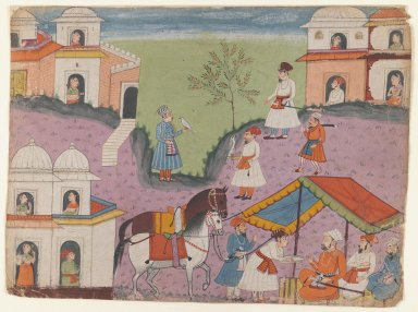 Indian. <em>Courtiers' Escapades, Page from an Unidentified Narrative Series</em>, ca. 1670. Opaque watercolors on paper, sheet: 8 5/8 x 11 3/4 in.  (21.9 x 29.8 cm). Brooklyn Museum, Gift of Dr. and Mrs. Kenneth X. Robbins, 81.317 (Photo: Brooklyn Museum, 81.317_IMLS_PS3.jpg)