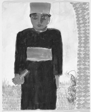 Consuelo Kanaga (American, 1894-1978). <em>[Untitled] (African Man)</em>. Watercolor on paper, 10 3/4 x 8 7/8 in.  (27.3 x 22.5 cm). Brooklyn Museum, Gift of Wallace B. Putnam, 81.318.13 (Photo: Brooklyn Museum, 81.318.13_bw.jpg)