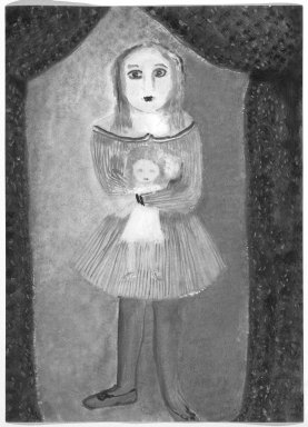Consuelo Kanaga (American, 1894-1978). <em>[Untitled] (Ballerina Girl with Doll)</em>. Watercolor and pastel on board, 14 1/8 x 10 1/8 in.  (35.9 x 25.7 cm). Brooklyn Museum, Gift of Wallace B. Putnam, 81.318.14 (Photo: Brooklyn Museum, 81.318.14_bw.jpg)