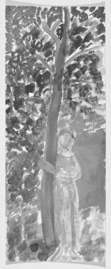 Consuelo Kanaga (American, 1894-1978). <em>[Untitled] (Woman and Tree)</em>. Watercolor on board, 14 1/8 x 5 5/8 in.  (35.9 x 14.3 cm). Brooklyn Museum, Gift of Wallace B. Putnam, 81.318.1 (Photo: Brooklyn Museum, 81.318.1_bw.jpg)