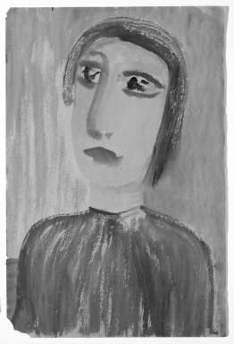 Consuelo Kanaga (American, 1894-1978). <em>[Untitled] (Bust-length Portrait of a Woman)</em>. Watercolor on paper, 18 x 12 in.  (45.7 x 30.5 cm). Brooklyn Museum, Gift of Wallace B. Putnam, 81.318.20 (Photo: Brooklyn Museum, 81.318.20_bw.jpg)