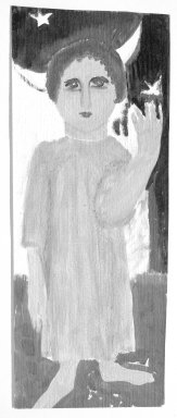 Consuelo Kanaga (American, 1894-1978). <em>[Untitled] (Full-length Portrait of a Child)</em>. Oil on paper, mounted, Sheet: 14 1/8 x 5 3/8 in.  (35.9 x 13.7 cm). Brooklyn Museum, Gift of Wallace B. Putnam, 81.318.25 (Photo: Brooklyn Museum, 81.318.25_bw.jpg)