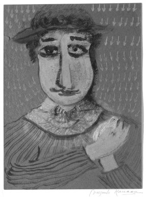 Consuelo Kanaga (American, 1894-1978). <em>[Untitled] (Man)</em>. Watercolor and pastel on paper, mounted, Sheet: 12 x 9 in.  (30.5 x 22.9 cm);. Brooklyn Museum, Gift of Wallace B. Putnam, 81.318.31 (Photo: Brooklyn Museum, 81.318.31_bw.jpg)