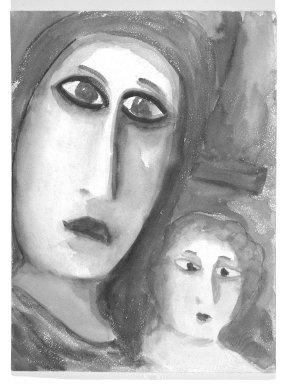 Consuelo Kanaga (American, 1894-1978). <em>[Untitled] (Woman and Child)(recto) and [Untitled] (Woman) (verso)</em>. Watercolor on paper, 11 7/8 x 8 1/4 in.  (30.2 x 21.0 cm). Brooklyn Museum, Gift of Wallace B. Putnam, 81.318.3a-b (Photo: Brooklyn Museum, 81.318.3a_bw.jpg)