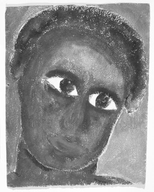Consuelo Kanaga (American, 1894-1978). <em>[Untitled] (Black Woman)</em>. Watercolor and pastel on paper, 12 1/2 x 9 7/8 in.  (irregular) (31.8 x 25.1 cm). Brooklyn Museum, Gift of Wallace B. Putnam, 81.318.6 (Photo: Brooklyn Museum, 81.318.6_bw.jpg)