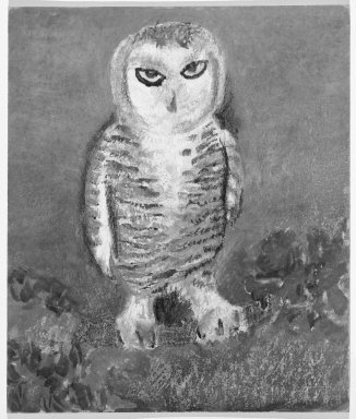 Consuelo Kanaga (American, 1894-1978). <em>[Untitled] (Owl)</em>. Pastel and watercolor on board, 11 x 9 1/4 in.  (27.9 x 23.5 cm). Brooklyn Museum, Gift of Wallace B. Putnam, 81.318.7 (Photo: Brooklyn Museum, 81.318.7_bw.jpg)