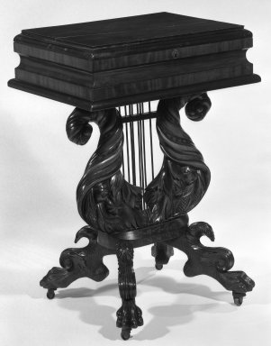 <em>Dress Table with Veneer</em>, ca. 1830. Mahogany, 33 x 33 1/4 x 18 1/2 in. (83.8 x 84.5 x 47 cm). Brooklyn Museum, Gift of Mrs. Donald M. Oenslager, 81.32.1. Creative Commons-BY (Photo: Brooklyn Museum, 81.32.1_exterior_bw_IMLS.jpg)