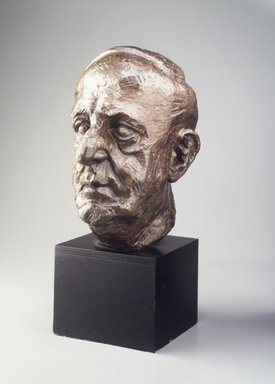 Jacques Lipchitz (American, born Lithuania, 1891-1973). <em>Bust of Marsden Hartley</em>, 1942. Bronze, wood base, Overall: 21 1/8 x 9 x 13 1/4 in. (53.7 x 22.9 x 33.7 cm). Brooklyn Museum, Gift of the Edith and Milton Lowenthal Foundation, Inc. in memory of Carl L. Selden, 81.38. © artist or artist's estate (Photo: Brooklyn Museum, 81.38_transp2735.jpg)